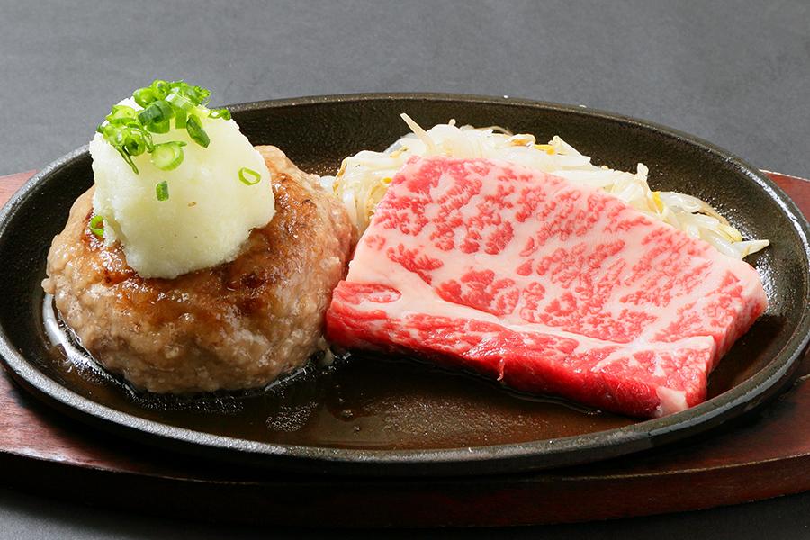 飲めるハンバーグとA5ランク黒毛和牛・霜降りステーキのコンボセット