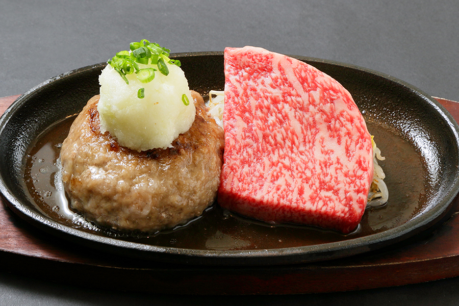 飲めるハンバーグとA5ランク黒毛和牛・サーロインステーキのコンボセット