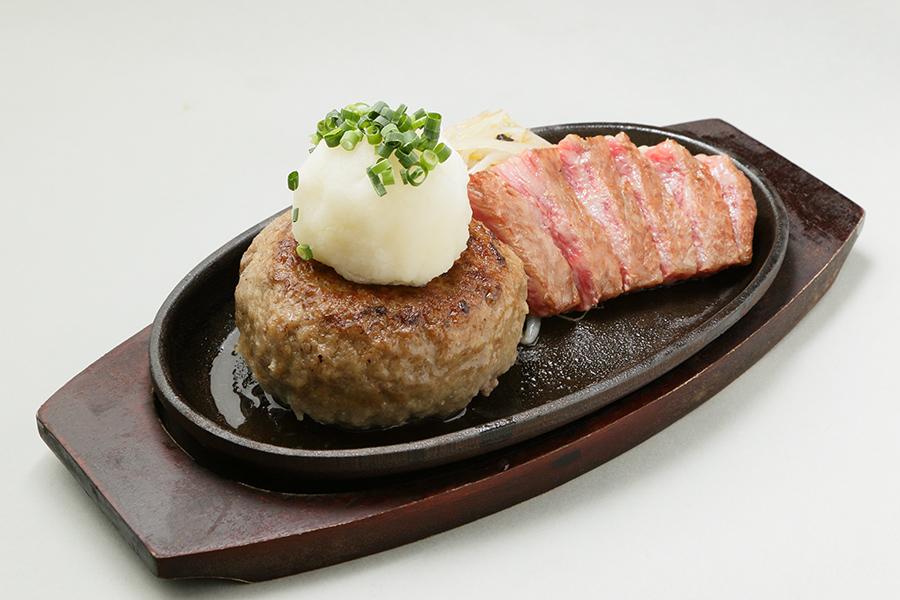 飲めるハンバーグ200g・国産の黒毛和牛100gのステーキのお得なコンボ
