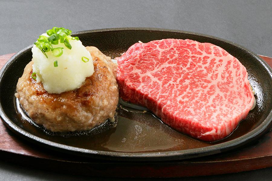 飲めるハンバーグとA5ランク黒毛和牛・赤身ステーキのコンボセット